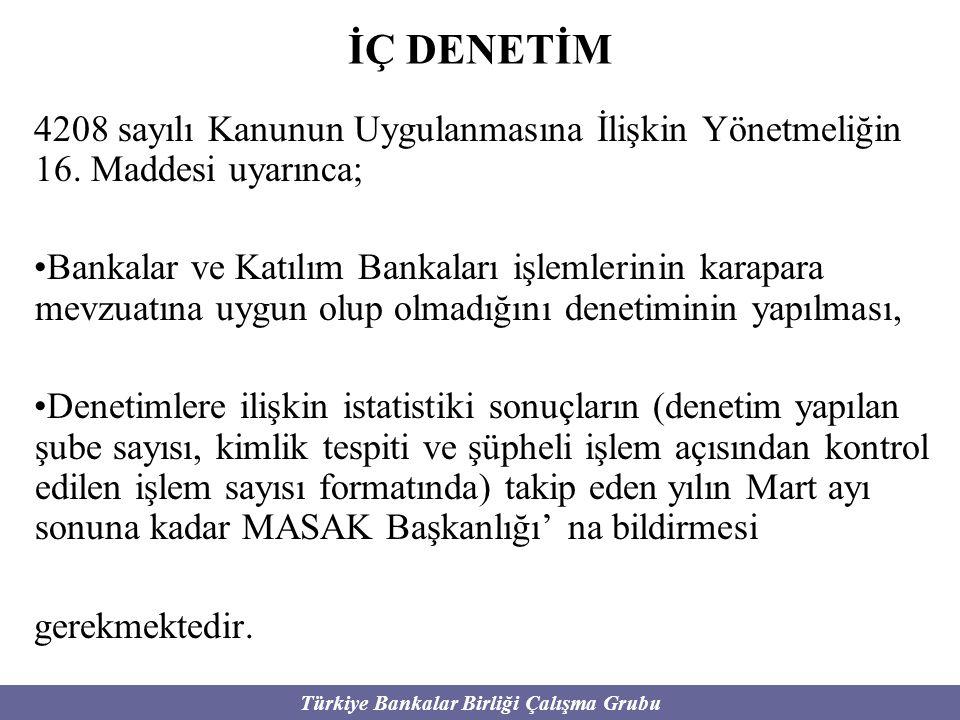 Türkiye Bankalar Birliği Çalışma Grubu İÇ DENETİM 4208 sayılı Kanunun Uygulanmasına İlişkin Yönetmeliğin 16. Maddesi uyarınca; Bankalar ve Katılım Ban