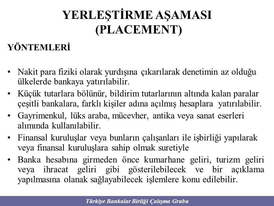Türkiye Bankalar Birliği Çalışma Grubu YERLEŞTİRME AŞAMASI (PLACEMENT) YÖNTEMLERİ Nakit para fiziki olarak yurdışına çıkarılarak denetimin az olduğu ü