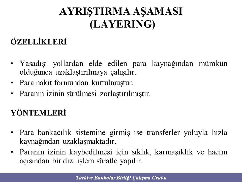 Türkiye Bankalar Birliği Çalışma Grubu AYRIŞTIRMA AŞAMASI (LAYERING) ÖZELLİKLERİ Yasadışı yollardan elde edilen para kaynağından mümkün olduğunca uzak