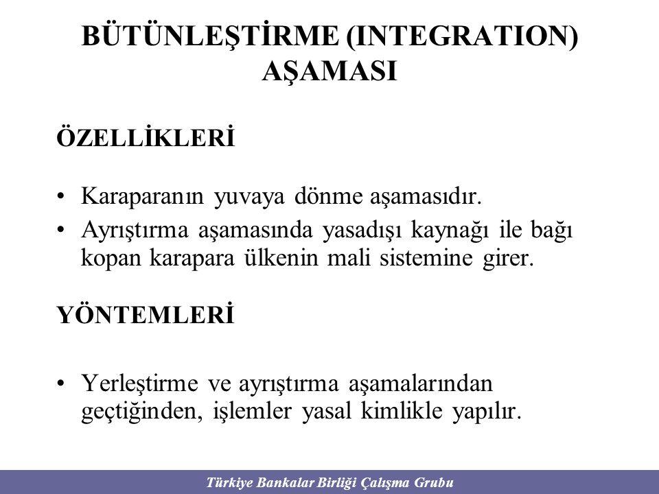 Türkiye Bankalar Birliği Çalışma Grubu BÜTÜNLEŞTİRME (INTEGRATION) AŞAMASI ÖZELLİKLERİ Karaparanın yuvaya dönme aşamasıdır. Ayrıştırma aşamasında yasa
