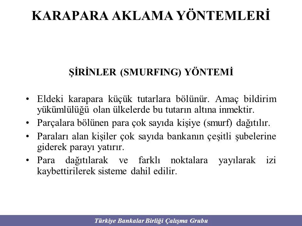 Türkiye Bankalar Birliği Çalışma Grubu KARAPARA AKLAMA YÖNTEMLERİ ŞİRİNLER (SMURFING) YÖNTEMİ Eldeki karapara küçük tutarlara bölünür. Amaç bildirim y