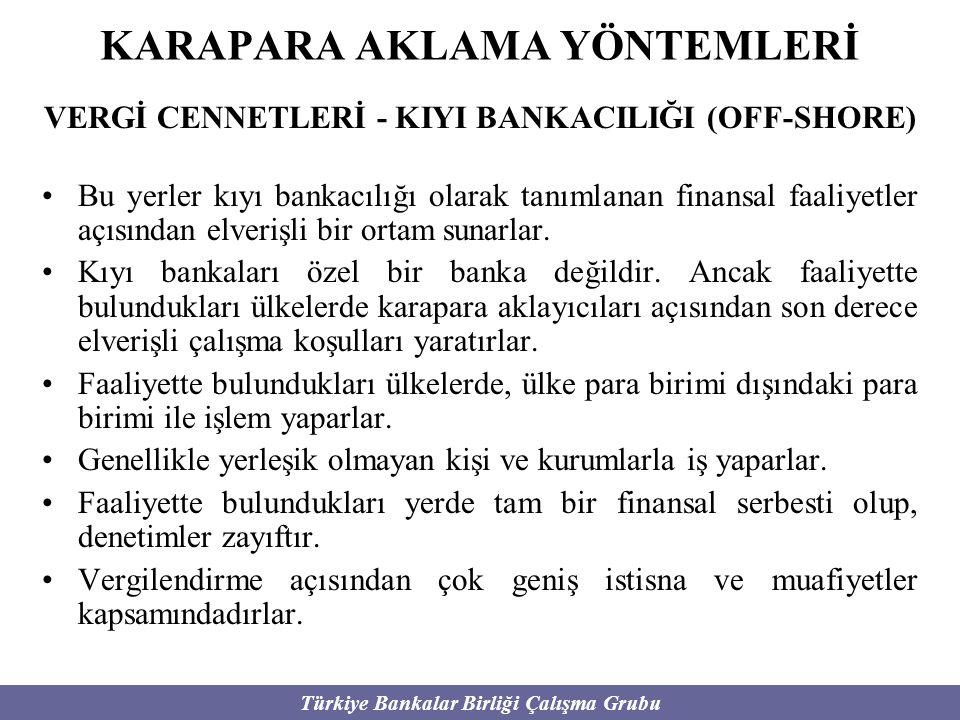 Türkiye Bankalar Birliği Çalışma Grubu KARAPARA AKLAMA YÖNTEMLERİ VERGİ CENNETLERİ - KIYI BANKACILIĞI (OFF-SHORE) Bu yerler kıyı bankacılığı olarak ta