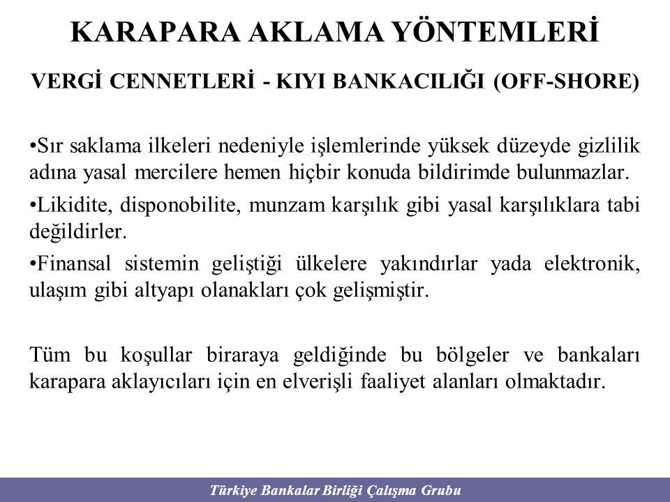 Türkiye Bankalar Birliği Çalışma Grubu KARAPARA AKLAMA YÖNTEMLERİ VERGİ CENNETLERİ - KIYI BANKACILIĞI (OFF-SHORE) Sır saklama ilkeleri nedeniyle işlem