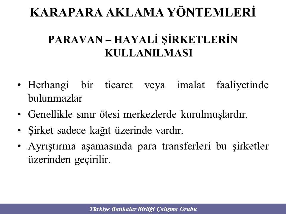 Türkiye Bankalar Birliği Çalışma Grubu KARAPARA AKLAMA YÖNTEMLERİ PARAVAN – HAYALİ ŞİRKETLERİN KULLANILMASI Herhangi bir ticaret veya imalat faaliyeti