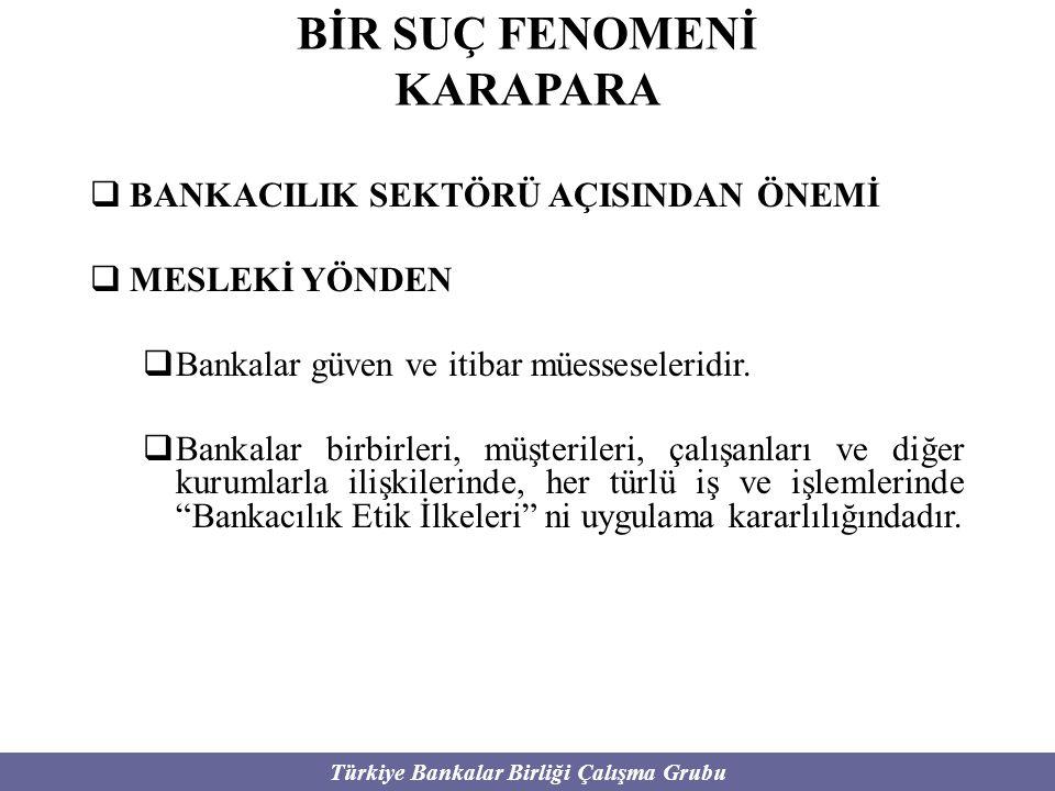 Türkiye Bankalar Birliği Çalışma Grubu BİR SUÇ FENOMENİ KARAPARA  BANKACILIK SEKTÖRÜ AÇISINDAN ÖNEMİ  MESLEKİ YÖNDEN  Bankalar güven ve itibar mües