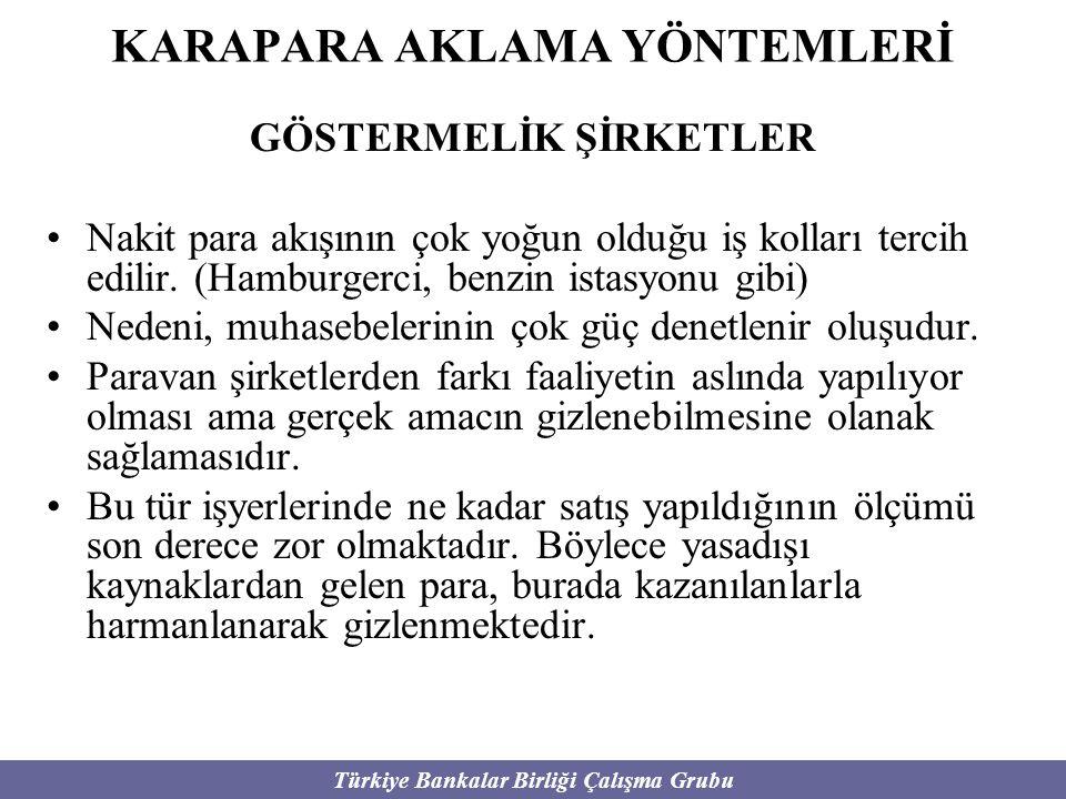 Türkiye Bankalar Birliği Çalışma Grubu KARAPARA AKLAMA YÖNTEMLERİ GÖSTERMELİK ŞİRKETLER Nakit para akışının çok yoğun olduğu iş kolları tercih edilir.