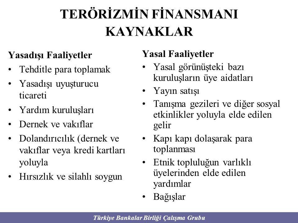 Türkiye Bankalar Birliği Çalışma Grubu KAYNAKLAR Yasadışı Faaliyetler Tehditle para toplamak Yasadışı uyuşturucu ticareti Yardım kuruluşları Dernek ve