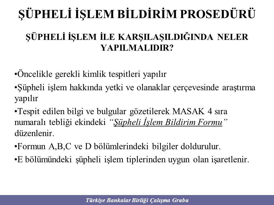 Türkiye Bankalar Birliği Çalışma Grubu ŞÜPHELİ İŞLEM BİLDİRİM PROSEDÜRÜ ŞÜPHELİ İŞLEM İLE KARŞILAŞILDIĞINDA NELER YAPILMALIDIR? Öncelikle gerekli kiml