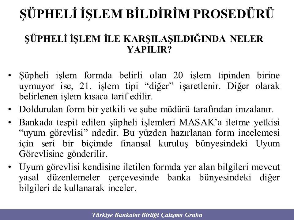 Türkiye Bankalar Birliği Çalışma Grubu ŞÜPHELİ İŞLEM BİLDİRİM PROSEDÜRÜ ŞÜPHELİ İŞLEM İLE KARŞILAŞILDIĞINDA NELER YAPILIR? Şüpheli işlem formda belirl