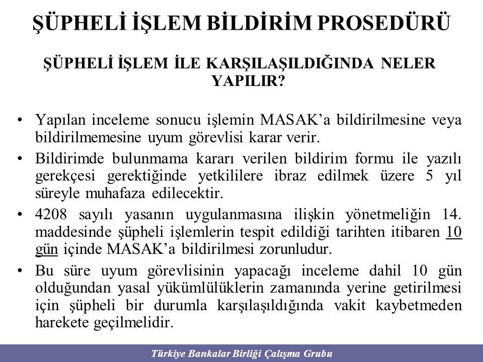 Türkiye Bankalar Birliği Çalışma Grubu ŞÜPHELİ İŞLEM BİLDİRİM PROSEDÜRÜ ŞÜPHELİ İŞLEM İLE KARŞILAŞILDIĞINDA NELER YAPILIR? Yapılan inceleme sonucu işl
