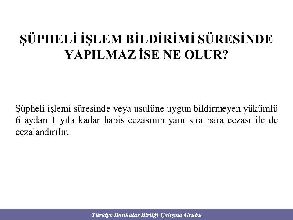 Türkiye Bankalar Birliği Çalışma Grubu ŞÜPHELİ İŞLEM BİLDİRİMİ SÜRESİNDE YAPILMAZ İSE NE OLUR? Şüpheli işlemi süresinde veya usulüne uygun bildirmeyen