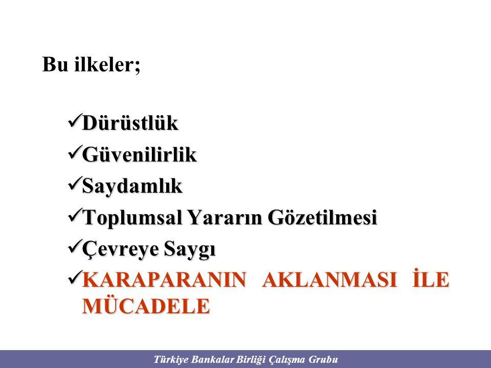 Türkiye Bankalar Birliği Çalışma Grubu Bu ilkeler; Dürüstlük Dürüstlük Güvenilirlik Güvenilirlik Saydamlık Saydamlık Toplumsal Yararın Gözetilmesi Top