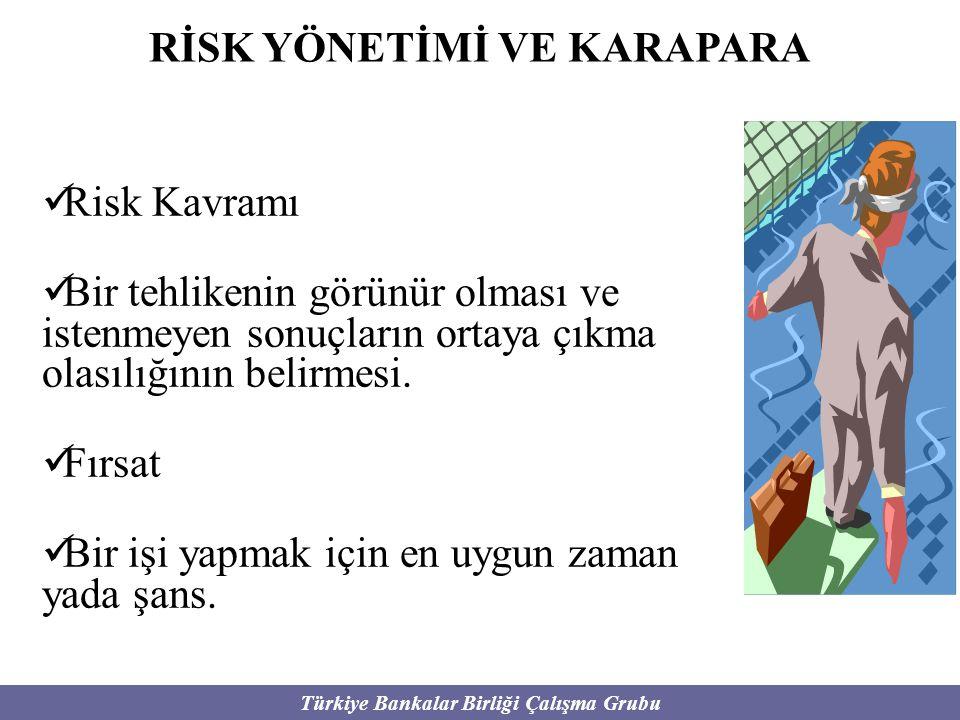 Türkiye Bankalar Birliği Çalışma Grubu RİSK YÖNETİMİ VE KARAPARA Risk Kavramı Bir tehlikenin görünür olması ve istenmeyen sonuçların ortaya çıkma olas