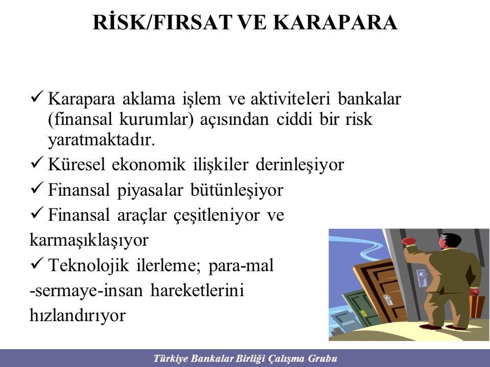 Türkiye Bankalar Birliği Çalışma Grubu RİSK/FIRSAT VE KARAPARA Karapara aklama işlem ve aktiviteleri bankalar (finansal kurumlar) açısından ciddi bir