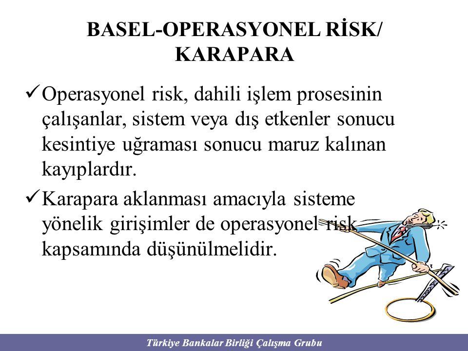 Türkiye Bankalar Birliği Çalışma Grubu BASEL-OPERASYONEL RİSK/ KARAPARA Operasyonel risk, dahili işlem prosesinin çalışanlar, sistem veya dış etkenler
