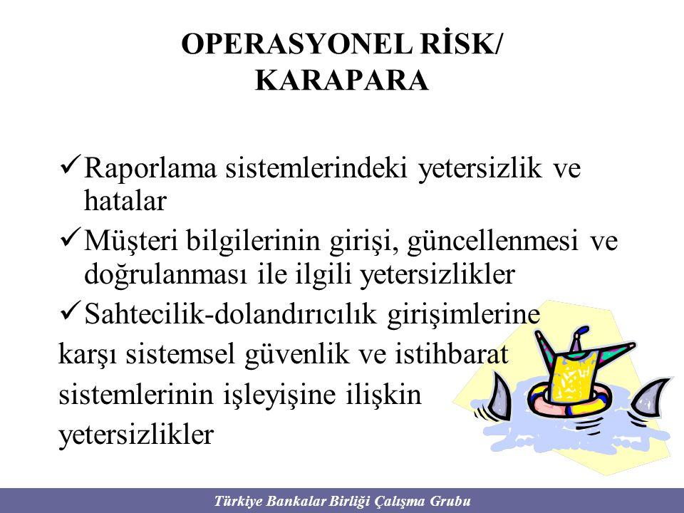 Türkiye Bankalar Birliği Çalışma Grubu OPERASYONEL RİSK/ KARAPARA Raporlama sistemlerindeki yetersizlik ve hatalar Müşteri bilgilerinin girişi, güncel