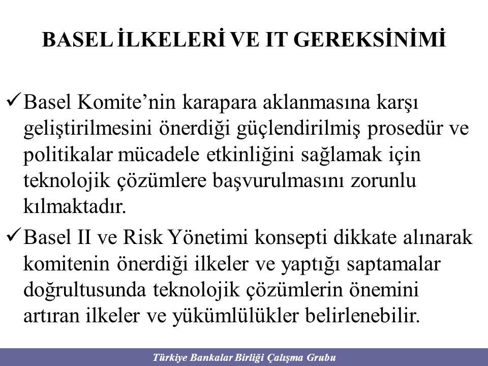 Türkiye Bankalar Birliği Çalışma Grubu BASEL İLKELERİ VE IT GEREKSİNİMİ Basel Komite'nin karapara aklanmasına karşı geliştirilmesini önerdiği güçlendi