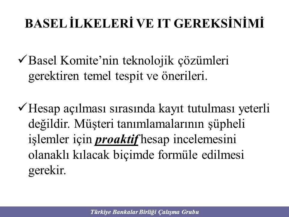 Türkiye Bankalar Birliği Çalışma Grubu BASEL İLKELERİ VE IT GEREKSİNİMİ Basel Komite'nin teknolojik çözümleri gerektiren temel tespit ve önerileri. He
