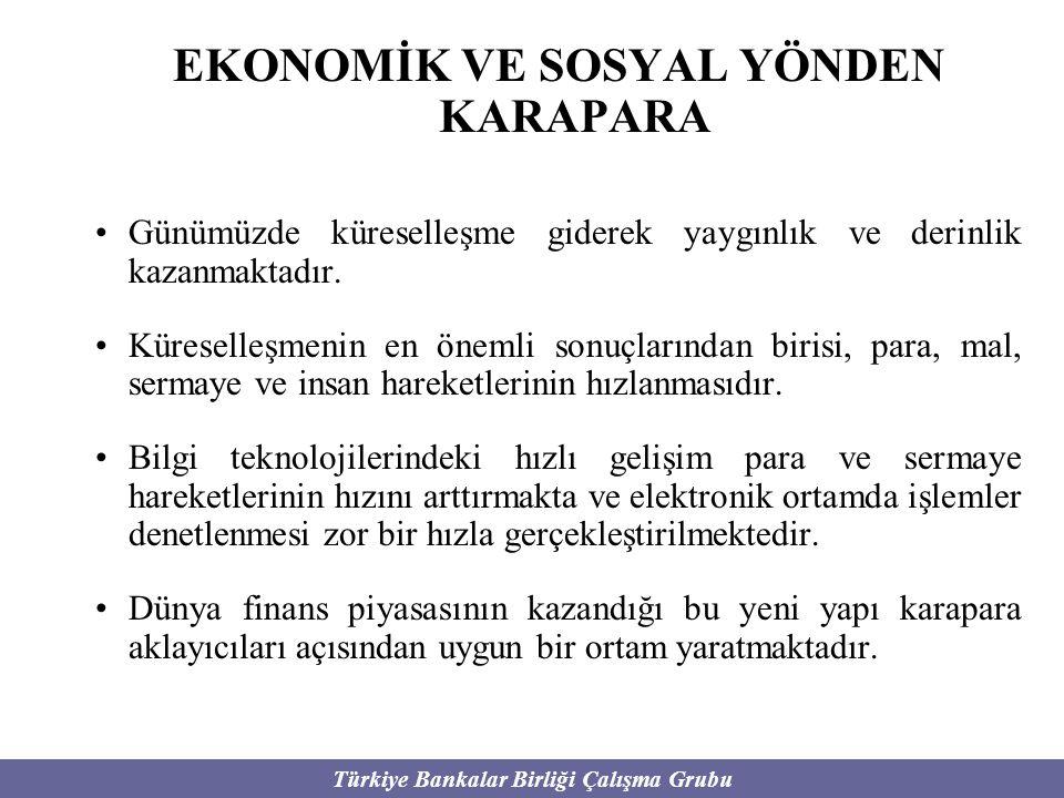 Türkiye Bankalar Birliği Çalışma Grubu ULUSLARARASI İLİŞKİLER YÖNÜNDEN KARAPARA Küreselleşme sonucu dünya mali sisteminde artan entegrasyon uyuşturucu, silah kaçakçılığı gibi uluslararası boyutta gerçekleştirilen suç faaliyetleri açısından uygun bir uluslararası ortamın oluşmasına neden olmuştur.