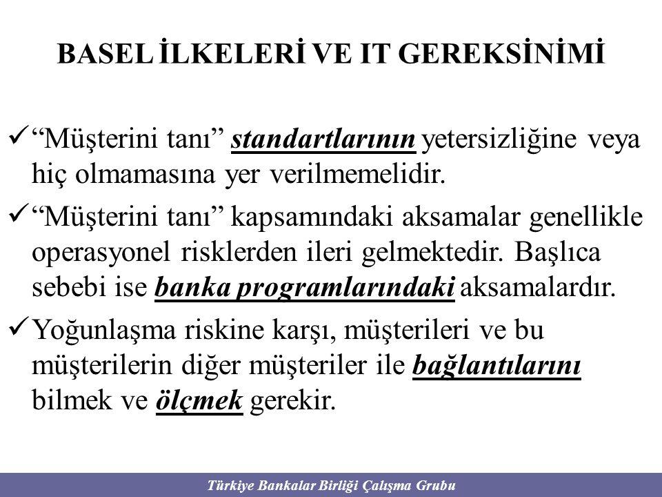 """Türkiye Bankalar Birliği Çalışma Grubu BASEL İLKELERİ VE IT GEREKSİNİMİ """"Müşterini tanı"""" standartlarının yetersizliğine veya hiç olmamasına yer verilm"""