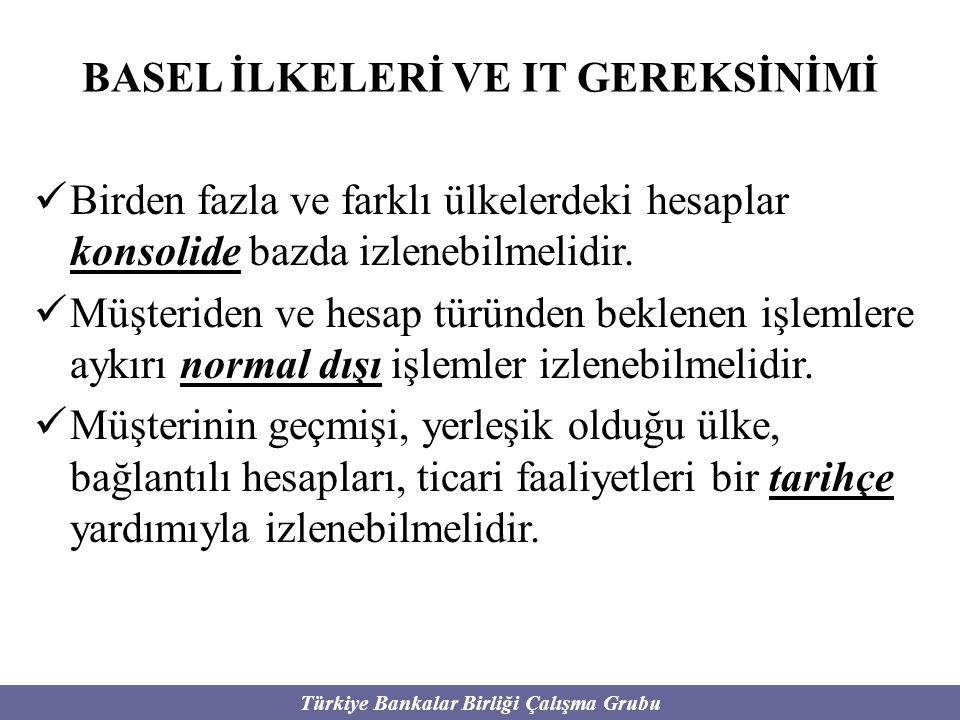 Türkiye Bankalar Birliği Çalışma Grubu BASEL İLKELERİ VE IT GEREKSİNİMİ Birden fazla ve farklı ülkelerdeki hesaplar konsolide bazda izlenebilmelidir.
