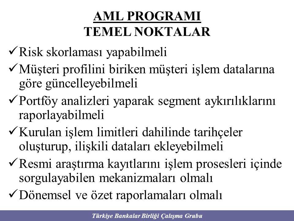 Türkiye Bankalar Birliği Çalışma Grubu AML PROGRAMI TEMEL NOKTALAR Risk skorlaması yapabilmeli Müşteri profilini biriken müşteri işlem datalarına göre