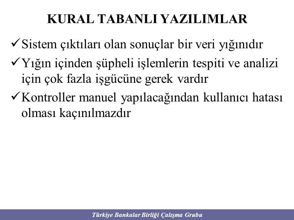 Türkiye Bankalar Birliği Çalışma Grubu Sistem çıktıları olan sonuçlar bir veri yığınıdır Yığın içinden şüpheli işlemlerin tespiti ve analizi için çok