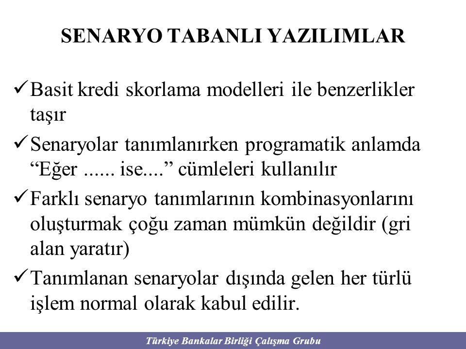 Türkiye Bankalar Birliği Çalışma Grubu SENARYO TABANLI YAZILIMLAR Basit kredi skorlama modelleri ile benzerlikler taşır Senaryolar tanımlanırken progr