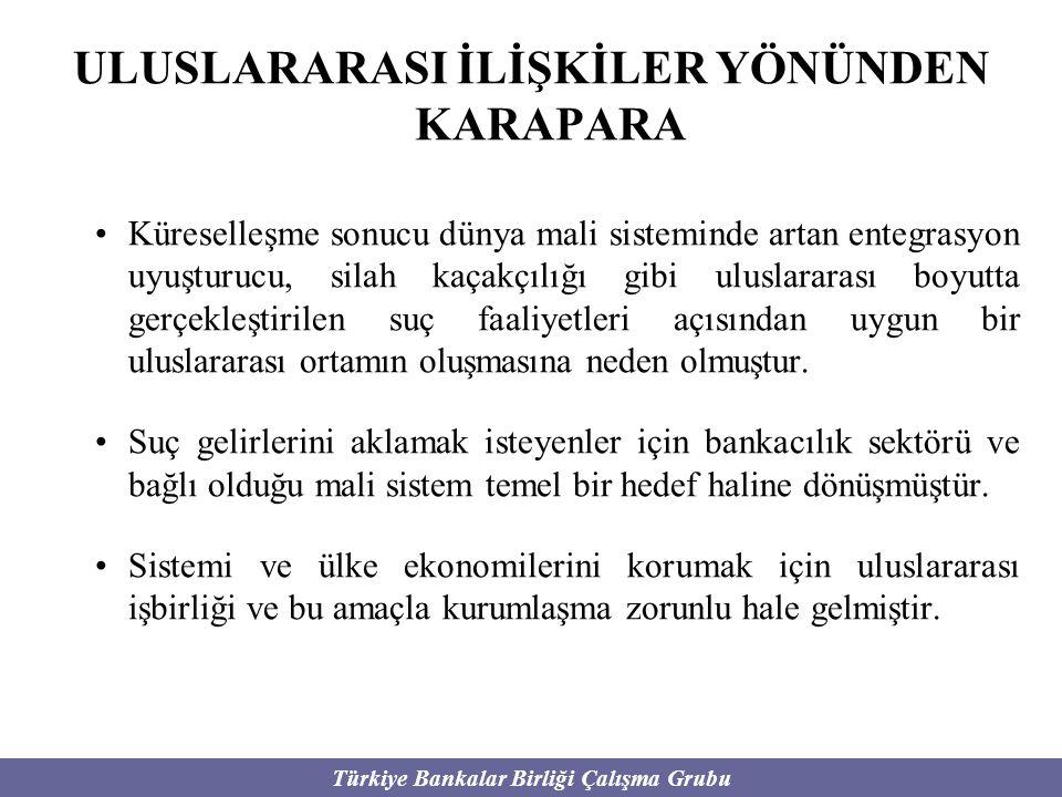 Türkiye Bankalar Birliği Çalışma Grubu ULUSLARARASI İLİŞKİLER YÖNÜNDEN KARAPARA Küreselleşme sonucu dünya mali sisteminde artan entegrasyon uyuşturucu