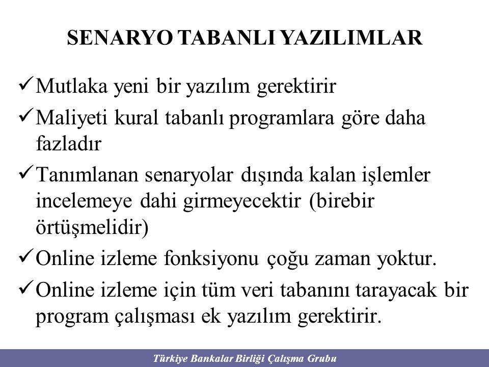 Türkiye Bankalar Birliği Çalışma Grubu Mutlaka yeni bir yazılım gerektirir Maliyeti kural tabanlı programlara göre daha fazladır Tanımlanan senaryolar