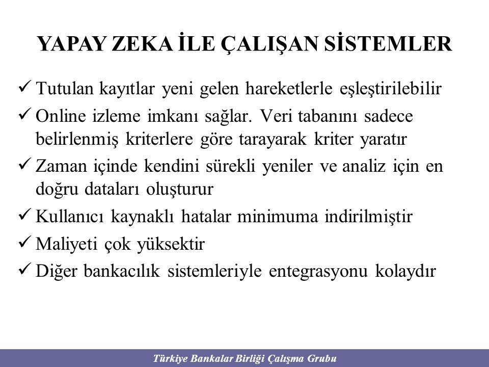 Türkiye Bankalar Birliği Çalışma Grubu Tutulan kayıtlar yeni gelen hareketlerle eşleştirilebilir Online izleme imkanı sağlar. Veri tabanını sadece bel