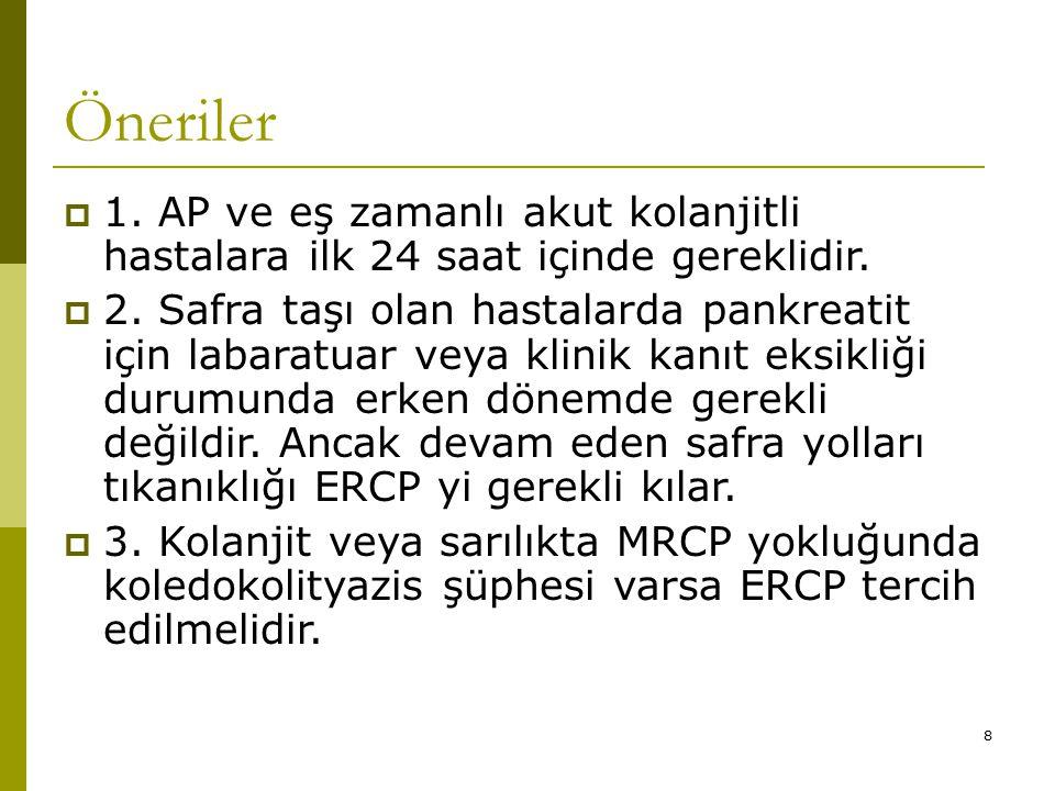 8 Öneriler  1.AP ve eş zamanlı akut kolanjitli hastalara ilk 24 saat içinde gereklidir.