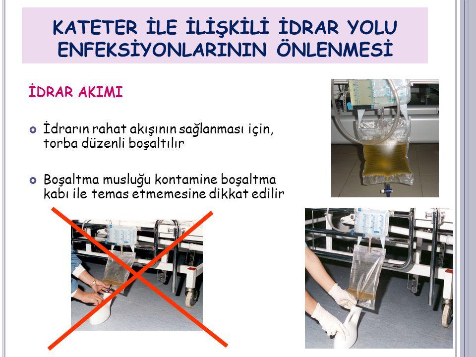 İDRAR AKIMI  İdrarın rahat akışının sağlanması için, torba düzenli boşaltılır  Boşaltma musluğu kontamine boşaltma kabı ile temas etmemesine dikkat