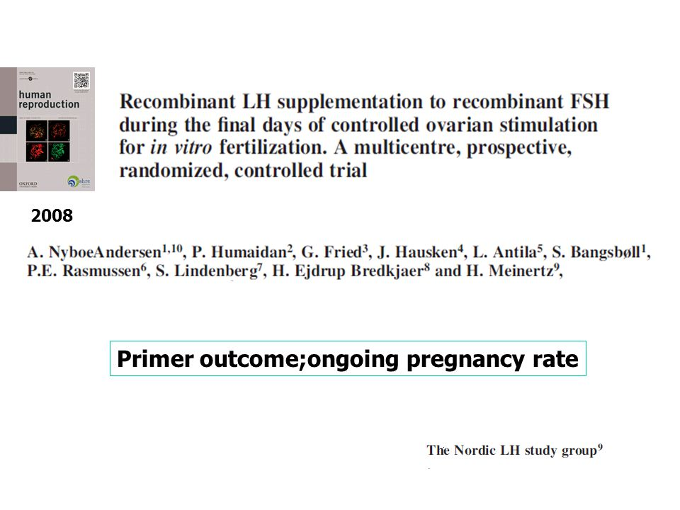 2008 Primer outcome;ongoing pregnancy rate