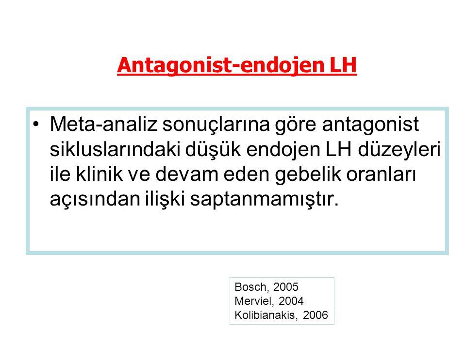 Meta-analiz sonuçlarına göre antagonist sikluslarındaki düşük endojen LH düzeyleri ile klinik ve devam eden gebelik oranları açısından ilişki saptanmamıştır.