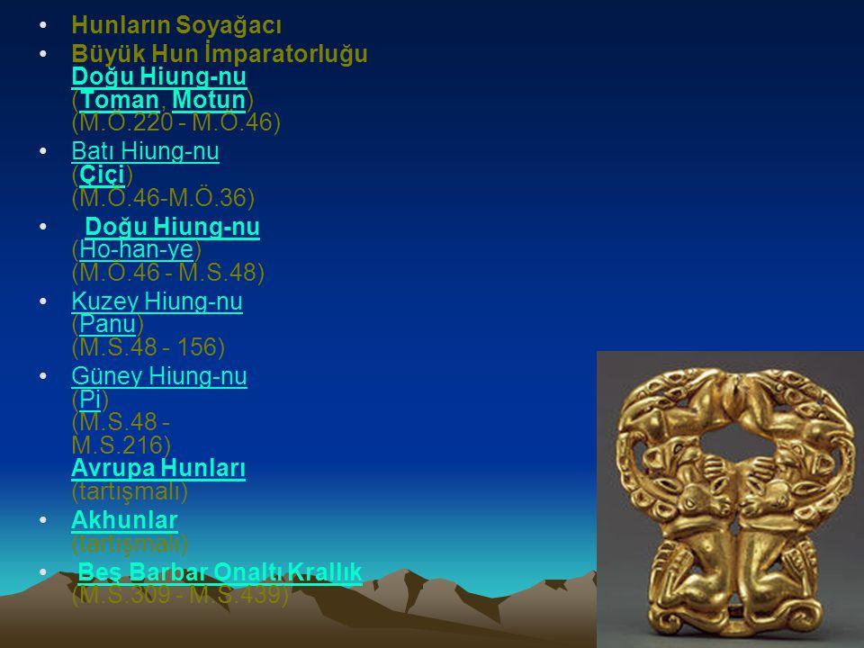 Hunların Soyağacı Büyük Hun İmparatorluğu Doğu Hiung-nu (Toman, Motun) (M.Ö.220 - M.Ö.46) Doğu Hiung-nuTomanMotun Batı Hiung-nu (Çiçi) (M.Ö.46-M.Ö.36)