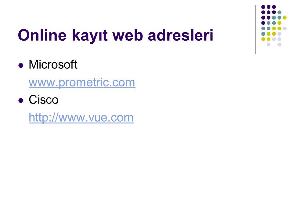 Online kayıt web adresleri Microsoft www.prometric.com Cisco http://www.vue.com