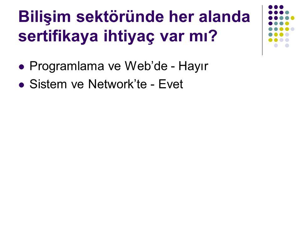 Türkiye aranan sertifikalar Microsoft Cisco Unix / Linux