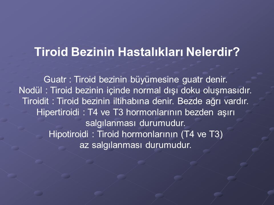 Tiroid Bezinin Hastalıkları Nelerdir? Guatr : Tiroid bezinin büyümesine guatr denir. Nodül : Tiroid bezinin içinde normal dışı doku oluşmasıdır. Tiroi