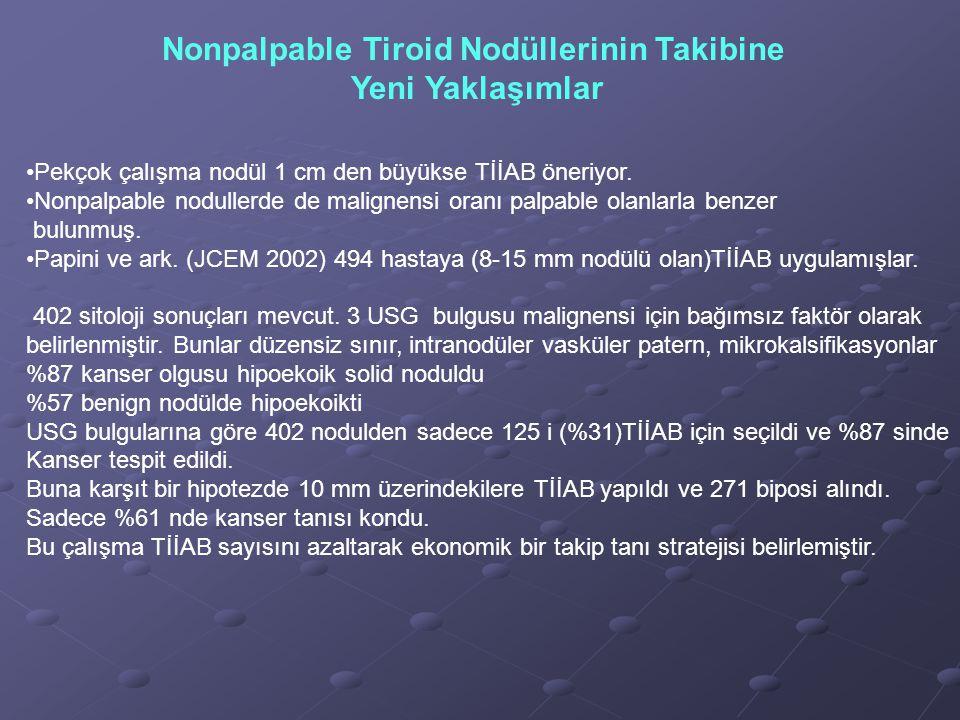 Nonpalpable Tiroid Nodüllerinin Takibine Yeni Yaklaşımlar Pekçok çalışma nodül 1 cm den büyükse TİİAB öneriyor. Nonpalpable nodullerde de malignensi o
