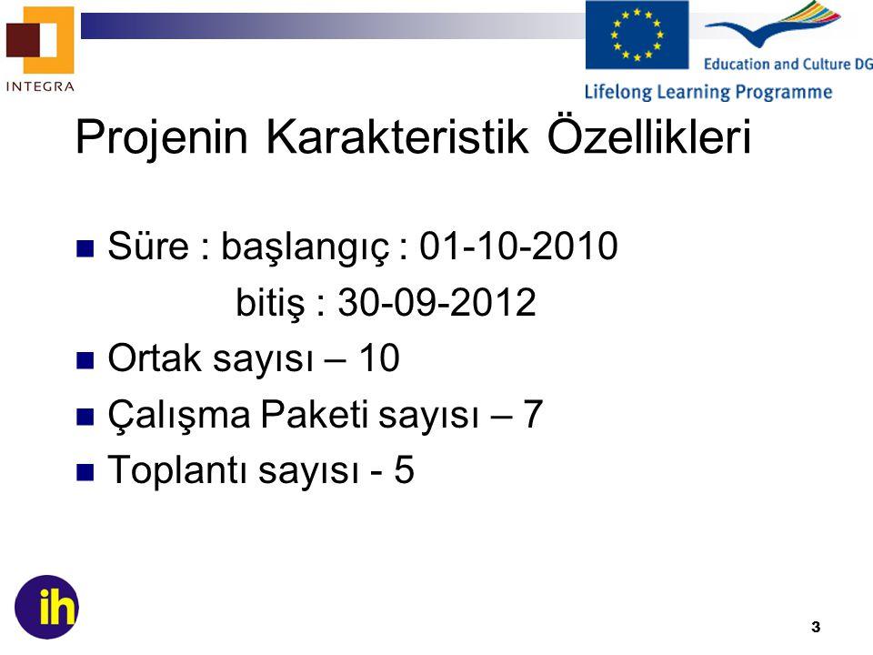 3 Projenin Karakteristik Özellikleri Süre : başlangıç : 01-10-2010 bitiş : 30-09-2012 Ortak sayısı – 10 Çalışma Paketi sayısı – 7 Toplantı sayısı - 5