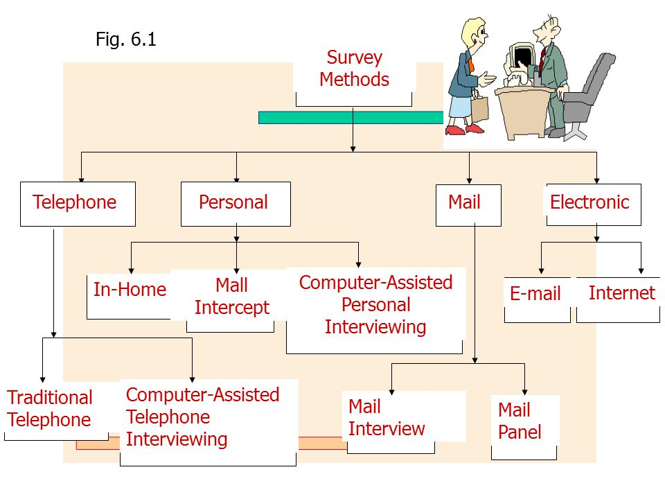 Traditional Telephone Computer-Assisted Telephone Interviewing Mail Interview Mail Panel Fig. 6.1 In-Home Mall Intercept Computer-Assisted Personal In