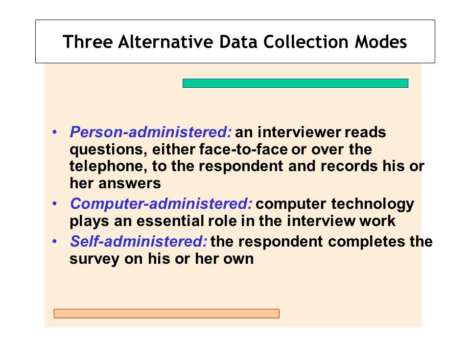 Three Alternative Data Collection Modes Person-administered: an interviewer reads questions, either face-to-face or over the telephone, to the respond