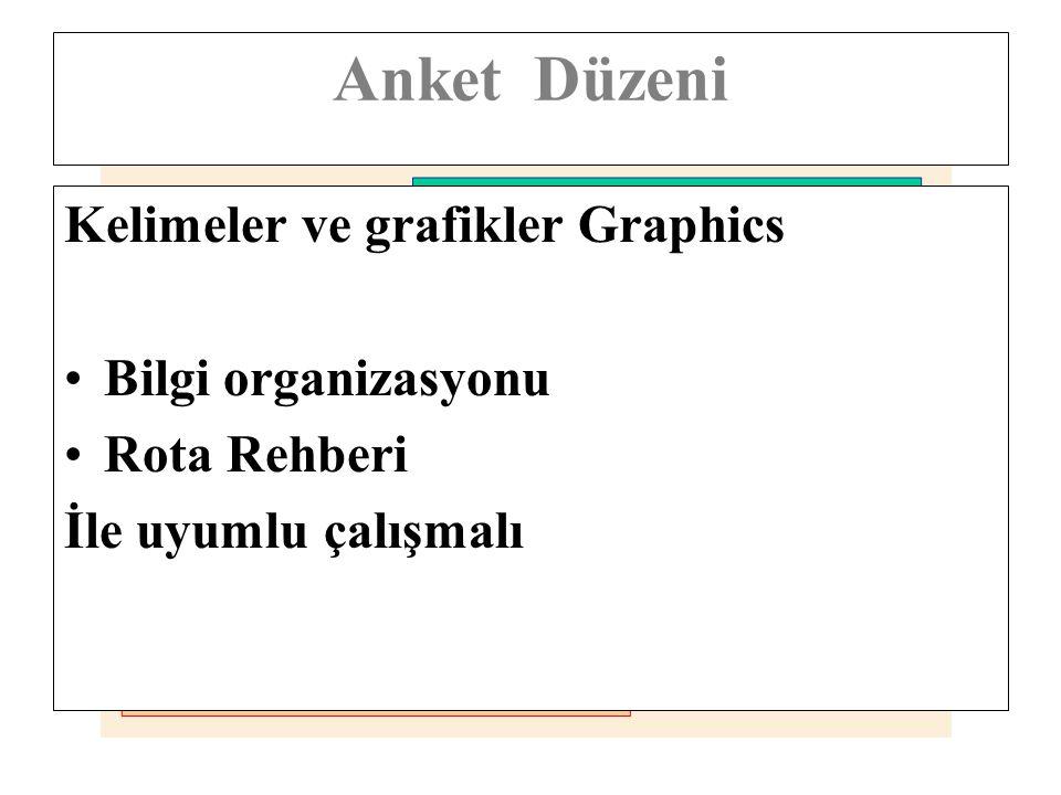 Anket Düzeni Kelimeler ve grafikler Graphics Bilgi organizasyonu Rota Rehberi İle uyumlu çalışmalı