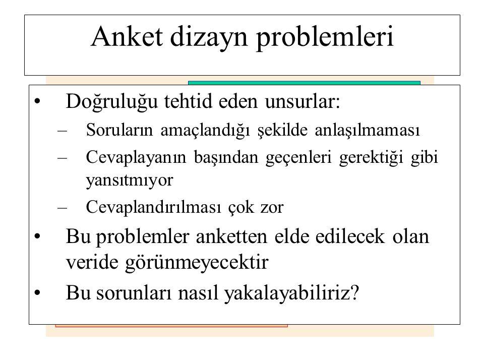 Anket dizayn problemleri Doğruluğu tehtid eden unsurlar: –Soruların amaçlandığı şekilde anlaşılmaması –Cevaplayanın başından geçenleri gerektiği gibi