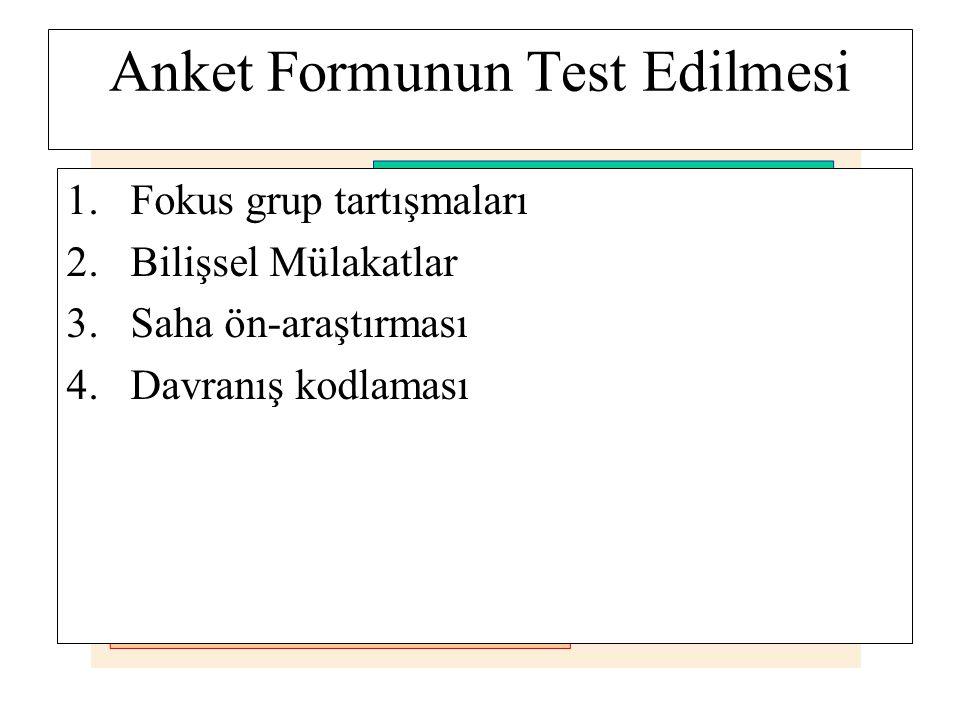 Anket Formunun Test Edilmesi 1.Fokus grup tartışmaları 2.Bilişsel Mülakatlar 3.Saha ön-araştırması 4.Davranış kodlaması