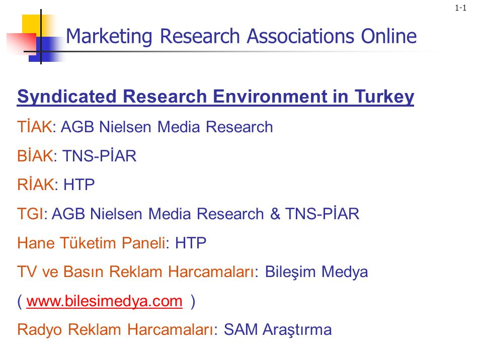 1-1 Syndicated Research Environment in Turkey TİAK: AGB Nielsen Media Research BİAK: TNS-PİAR RİAK: HTP TGI: AGB Nielsen Media Research & TNS-PİAR Hane Tüketim Paneli: HTP TV ve Basın Reklam Harcamaları: Bileşim Medya ( www.bilesimedya.com )www.bilesimedya.com Radyo Reklam Harcamaları: SAM Araştırma Marketing Research Associations Online