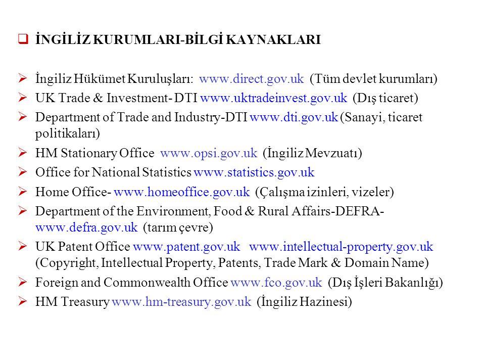 İNGİLİZ KURUMLARI-BİLGİ KAYNAKLARI  İngiliz Hükümet Kuruluşları: www.direct.gov.uk (Tüm devlet kurumları)  UK Trade & Investment- DTI www.uktradei