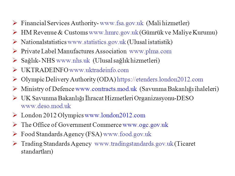  Financial Services Authority- www.fsa.gov.uk (Mali hizmetler)  HM Revenue & Customs www.hmrc.gov.uk (Gümrük ve Maliye Kurumu)  Nationalstatistics