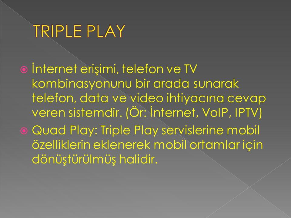  İnternet erişimi, telefon ve TV kombinasyonunu bir arada sunarak telefon, data ve video ihtiyacına cevap veren sistemdir.